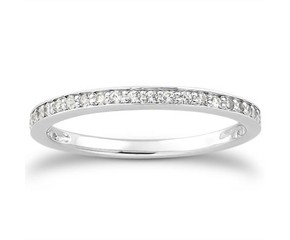 Diamond Micro-pave Wedding Ring Band in 14K White Gold