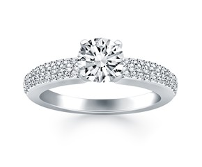 Triple Row Pave Diamond Engagement Ring Mounting in 14k White Gold