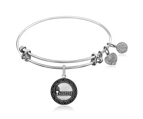 Expandable White Tone Brass Bangle with Inspire Symbol
