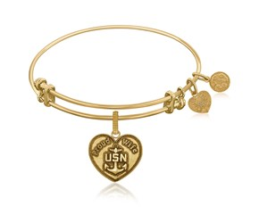 Expandable Yellow Tone Brass Bangle with U.S. Navy Proud Wife Symbol