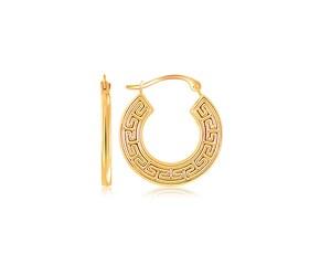 Flat Greek Key Small Hoop Earrings in 10k Yellow Gold