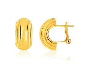 14k Yellow Gold Polished Half Moon Post Earrings