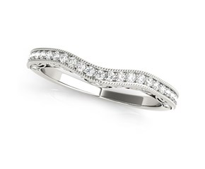 14k White Gold Milgrained Pave Set Curved Diamond Wedding Band (1/5 cttw)