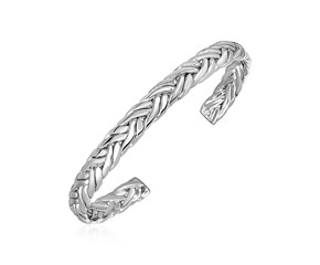 Wide Braided Cuff Bangle in Sterling Silver