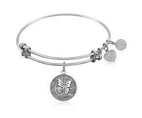 Expandable White Tone Brass Bangle with  Butterfly Transformation Symbol