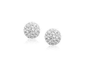 White Tone Crystal Ball Stud Earrings in 14k Yellow Gold