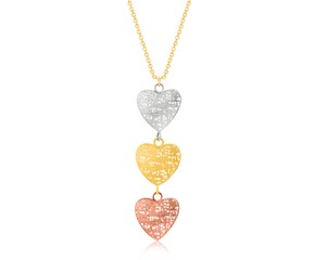 Lace Heart Link Dangling Pendant in 14K Tri-Color Gold