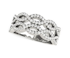 Diamond Studded Double Interlocking Waves Ring in 14k White Gold  (5/8 cttw)