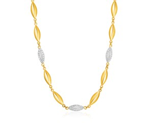 14k Yellow Gold and Diamond Marquise Motif Necklace (1/5 cttw)