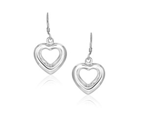 Puff Open Heart Drop Earrings in Sterling Silver