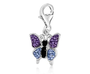 Butterfly Multi Tone Crystal Accented Charm in Sterling Silver