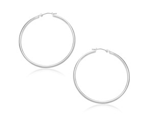 Classic Hoop Earrings in 10k White Gold (30mm Diameter) (1.5mm)