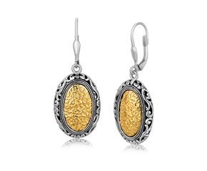 Vintage Inspired Oval Hammered Earrings in 18K Yellow Gold and Sterling Silver