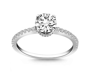 Diamond Collar Engagement Ring Mounting in 14k White Gold
