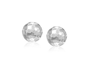 Faceted 7mm Round Stud Earrings in 14k White Gold