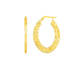14k Yellow Gold Textured Flat Oval Hoop Earrings