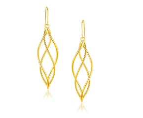 Twisted Oval and Textured Earrings in 14k Yellow Gold