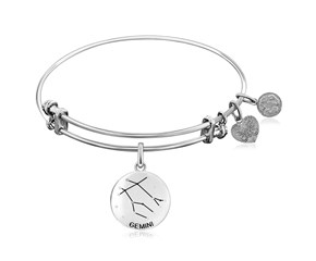 Expandable White Tone Brass Bangle with Gemini Zodiac Symbol