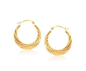 Textured Graduated Twist Hoop Earrings in 10k Yellow Gold