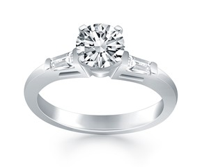Engagement Ring Mounting with Tapered Baguette Side Diamonds in 14K White Gold