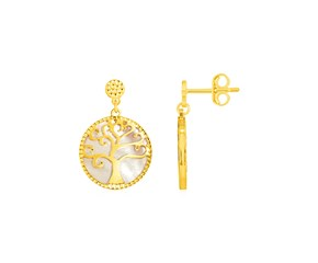 14k Yellow Gold and Mother of Pearl Tree of Life Earrings