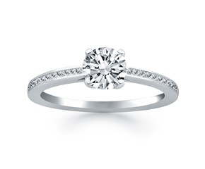 Channel Set Cathedral Engagement Ring in 14k White Gold