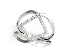 Entwined Style Diamond Ring in 14k White Gold (1/5 cttw)