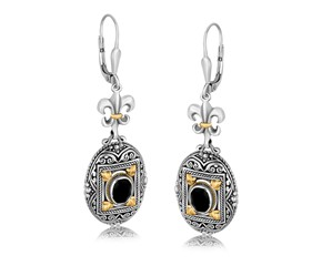 Rectangle Framed and Scrollwork Accented Oval Black Onyx Fleur De Lis Dangling Earrings in 18K Yellow Gold and Sterling Silver