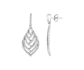 Leaf Motif Drop Earrings with Cubic Zirconia in Sterling Silver