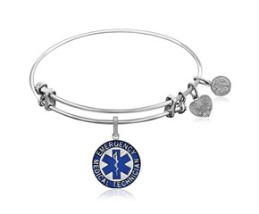 Expandable White Tone Brass Bangle with Blue Enamel EMT Symbol