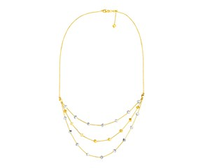 14k Tri Color Gold Three Part Necklace with Polished Cubes