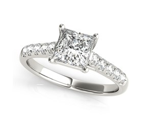 14k White Gold Trellis Set Princess Cut Diamond Engagement Ring (1 1/4 cttw)