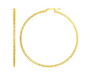 14k Yellow Gold Large Textured Hoop Earrings (50mm Diameter) (1.5mm)