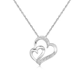 Dual Size Heart Design Diamond Embellished Pendant in Sterling Silver (.02 cttw)