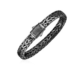 Wide Woven Rope Mens Designer Bracelet with Black Finish in Sterling Silver