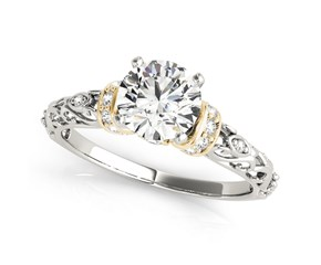 14k White And Yellow Gold Antique Style Round Diamond Engagement Ring (1 1/8 cttw)