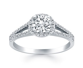 Diamond Halo Split Shank Engagement Ring Mounting in 14K White Gold