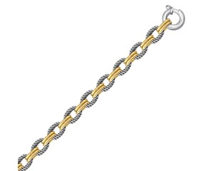 Alternate Oval Cable and Dual Polished Chain Link Bracelet in 18k Yellow Gold and Sterling Silver
