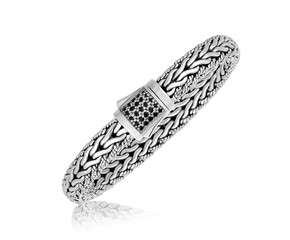 Black Sapphire Embellished Braided Style Men's Bracelet in Sterling Silver