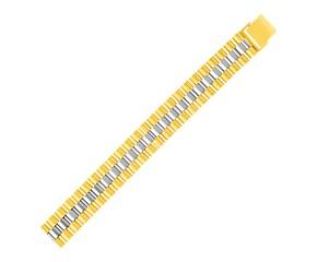 14k Two Tone Gold Mens Panther Link Bracelet