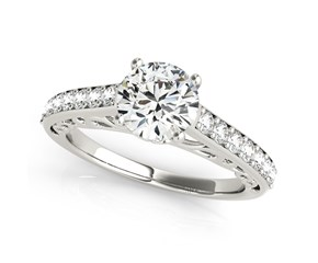 14k White Gold Unique Detailing Single Row Round Diamond Engagement Ring (1 1/3 cttw)