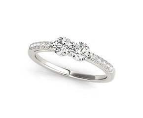 Round Two Stone Diamond Ring 14k White Gold (5/8 cttw)