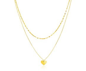 14k Yellow Gold 18 inch Two Strand Necklace with Heart Pendant