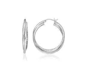 Triple Round Hoop Textured Earrings in Sterling Silver