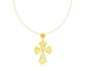 Leaf Design Lacy Cross Pendant in 14K Yellow Gold