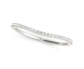 14k White Gold Pave Style Setting Curved Diamond Wedding Band (1/10 cttw)