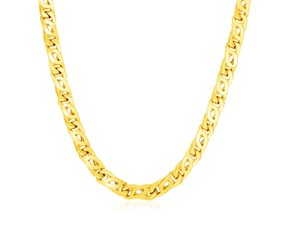 14k Yellow Gold Mens Polished Abstract Link Necklace