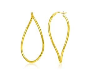Twisting Oval Hoop Earrings in 14k Yellow Gold