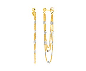 Hanging Chain Earrings with Rectangular Accents in 14k Yellow and White Gold