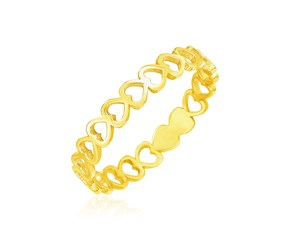 14k Yellow Gold Ring with Polished Open Heart Motifs